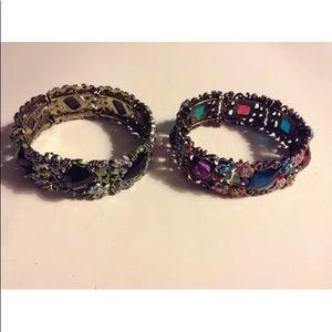 Jewelry - 2 Rhinestone Cuff Bracelets Ornate Colorful
